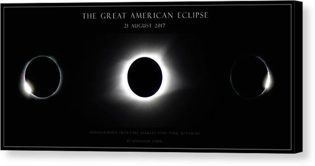 Great American Eclipse Canvas Print featuring the photograph Great American Eclipse - Triptych by Jonathan Sabin