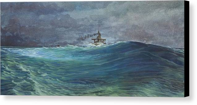 Seascape Canvas Print featuring the painting Great White Fleet In A Squall by Stephen Bluto