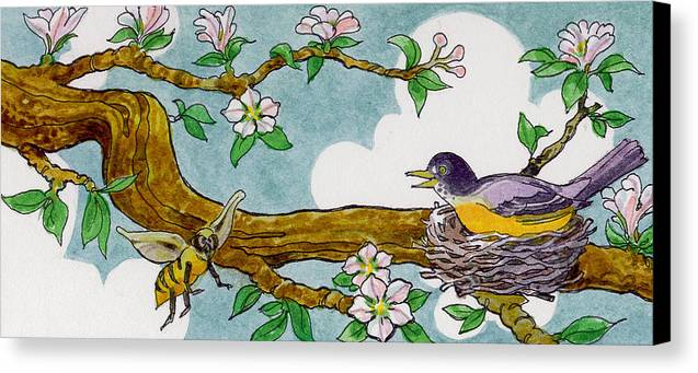 Birds Canvas Print featuring the painting Robin Nest by Lash Larue