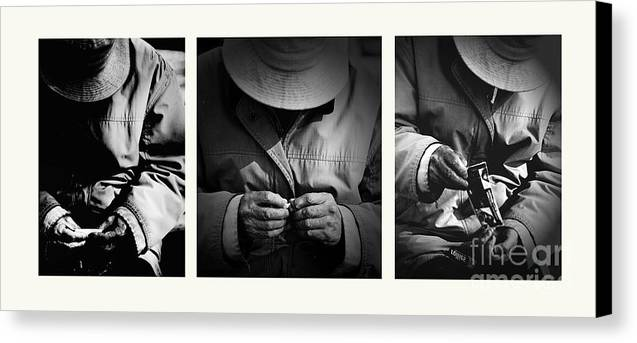 Rollup Rolling Cigarette Smoker Smoking Man Hat Monochrome Canvas Print featuring the photograph Rolling His Own by Sheila Smart Fine Art Photography