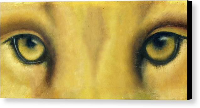 Lion Eyes Canvas Print featuring the painting Whos Watching Who by Darlene Green