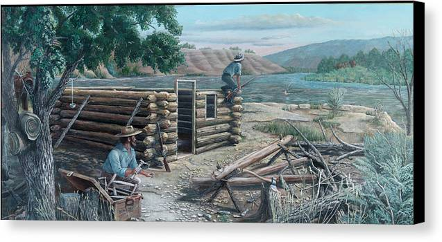 Pioneers Canvas Print featuring the painting New Neighbors by Lee Bowerman