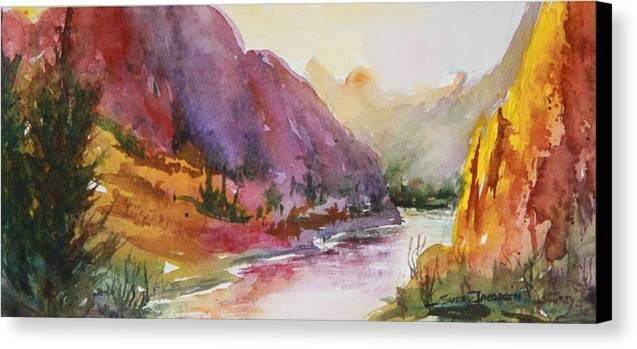 Landscape Canvas Print featuring the painting Smith Rock Fall Morning 1 by Sukey Watson