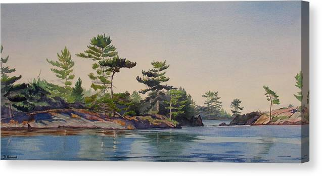 Rocks Canvas Print featuring the painting Stoney Lake Morning by Debbie Homewood