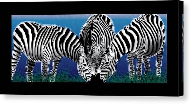 Zebras Canvas Print featuring the digital art Zebras In Blue Oasis by Dana Bennett