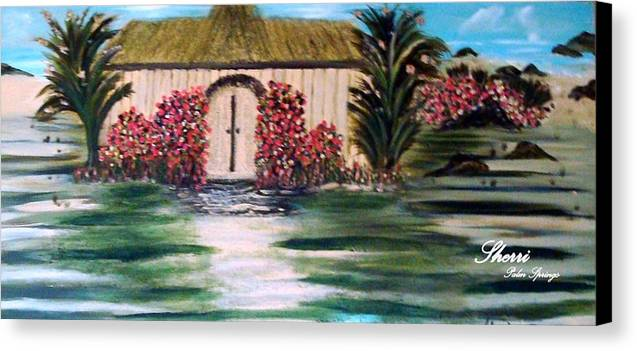 Ocean Canvas Print featuring the painting Cottage By The Sea by Sherri's - Of Palm Springs