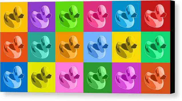 Rubber Ducks Canvas Print featuring the digital art More Rubber Ducks by Michael Tompsett