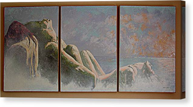 Figure Canvas Print featuring the painting Emergence Two by JoAnne Castelli-Castor