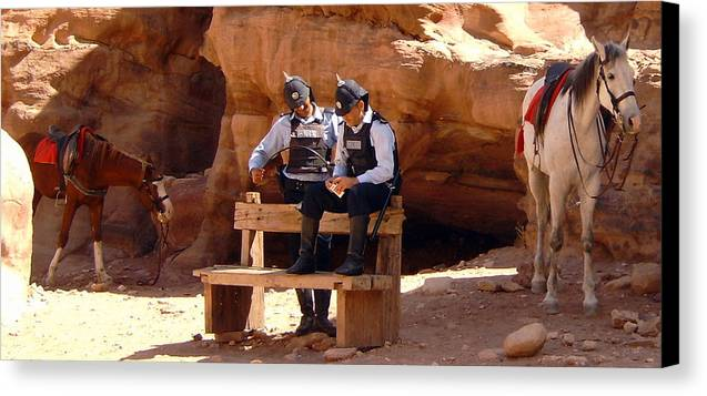 Police Canvas Print featuring the photograph Petra Pd by Larry Underwood