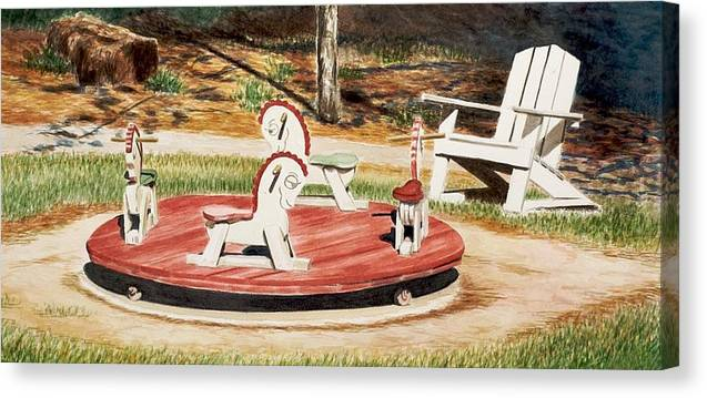 Kids Canvas Print featuring the painting Merry Go Round At The Cape by Jeff Toole