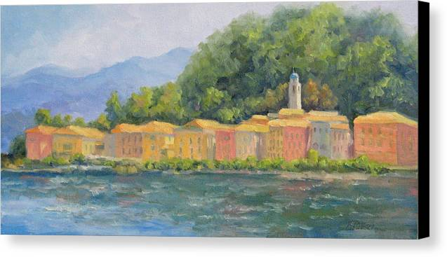 Italy Canvas Print featuring the painting Bellagio - Pearl Of Lake Como by Bunny Oliver