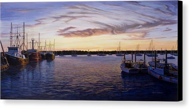 Marine Art Canvas Print featuring the painting Dusk At Stonington Harbor by Bruce Dumas
