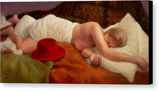 Realism Canvas Print featuring the painting Red Hat 7 by Donelli DiMaria