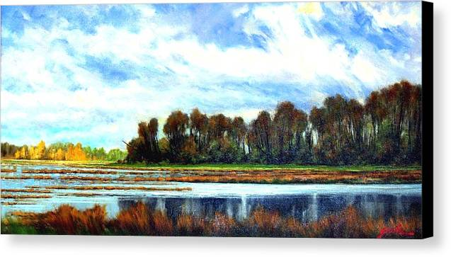 Landscapes Canvas Print featuring the painting Ridgefield Refuge Early Fall by Jim Gola