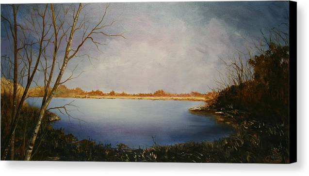 Original Acrylic Landscape Canvas Print featuring the painting Rotary Pond by Sharon Steinhaus