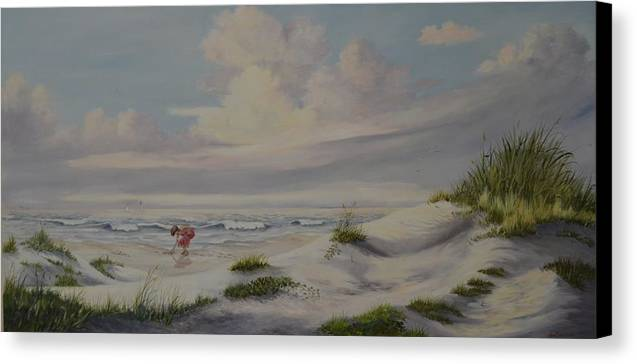 Landscape Canvas Print featuring the painting Shadows In The Sand Dunes by Wanda Dansereau