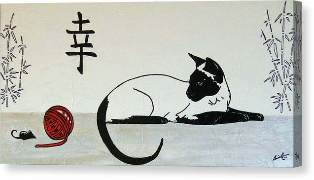 Contemporary Cat Canvas Print featuring the painting La Cache-cache by Annie Rioux