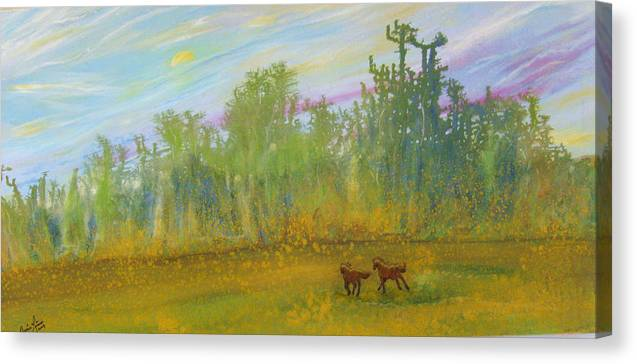 Contemporary Horse Canvas Print featuring the painting Le Fantastique by Annie Rioux