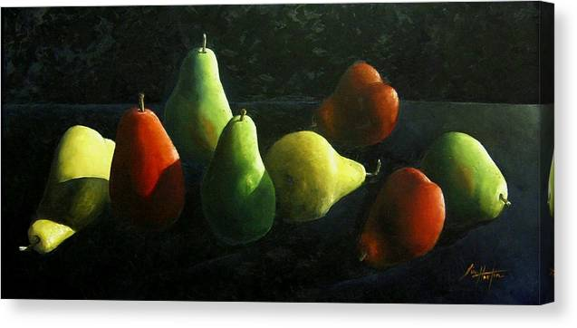 Pears Canvas Print featuring the painting Pears In Darkness by Jim Horton