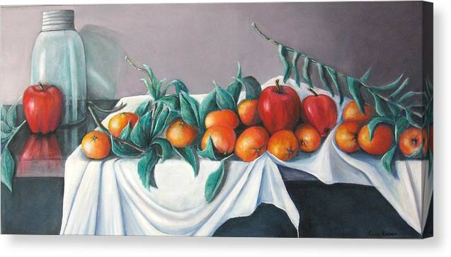 Still Life Canvas Print featuring the painting Tangerines And Apples by Eileen Kasprick