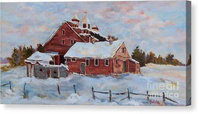 Nh Canvas Print featuring the painting Winter Silence by Alicia Drakiotes