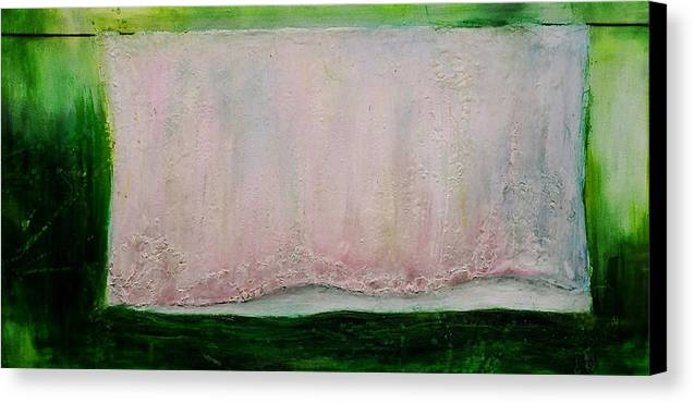 Sheet Clothes Line Pastel Colors Oil Painting Original Canvas Wax Summer Yard Green Pink Blue Thread Canvas Print featuring the painting Passingon by Martine Letoile