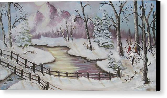 Christmas Canvas Print featuring the painting Winter Scene by Joni McPherson