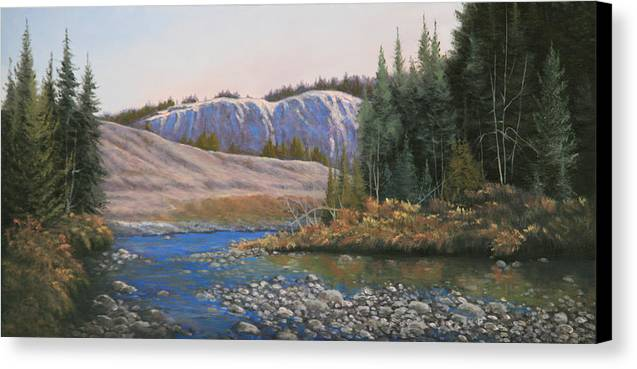 Rocky Mountains Canvas Print featuring the painting 100409-1224 Rocky Creek Reflections by Kenneth Shanika