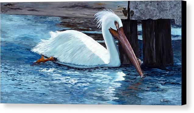 White Pelican Canvas Print featuring the painting Crazy Feathers by Linda Speaker