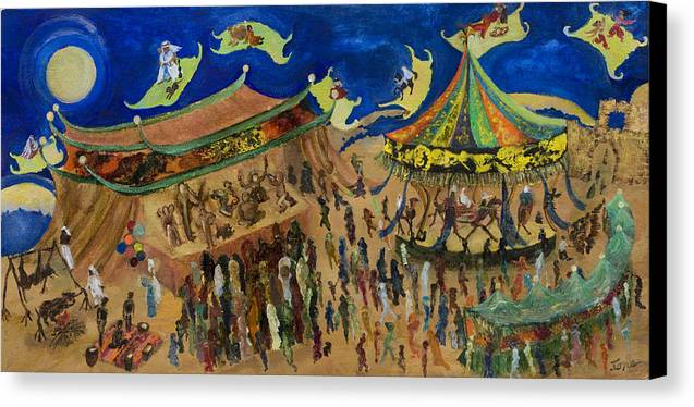 Flying Carpets  Canvas Print featuring the painting Flying Carpets  by Ione Citrin