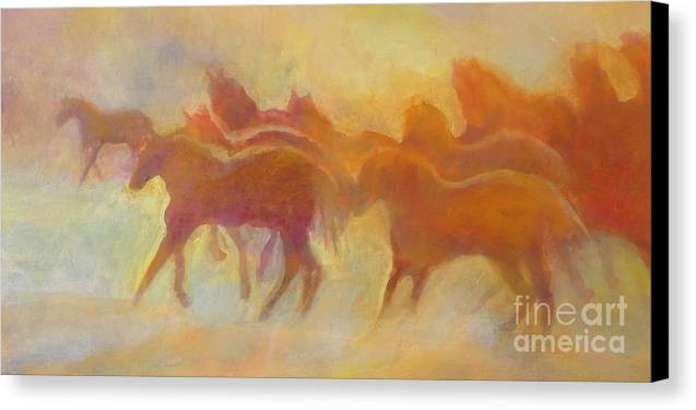 Horses Canvas Print featuring the painting Foolin Around I by Kip Decker