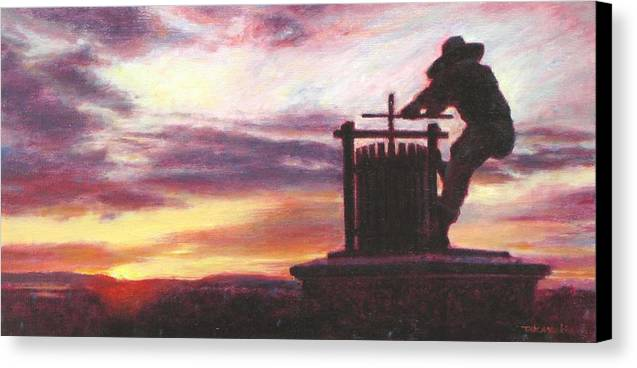 Wine Painting Canvas Print featuring the painting Grape Crusher Napa Valley Sunset by Takayuki Harada