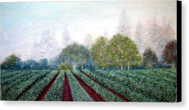 Landscape Canvas Print featuring the painting Misty Blue by Carl Capps