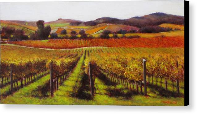 Wine Painting Canvas Print featuring the painting Napa Carneros Vineyard Autumn Color by Takayuki Harada