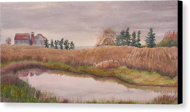 Farm Canvas Print featuring the painting Pond Magic by Debbie Homewood