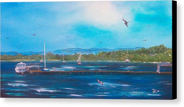 Seascape Canvas Print featuring the painting Private Dock by Tony Rodriguez
