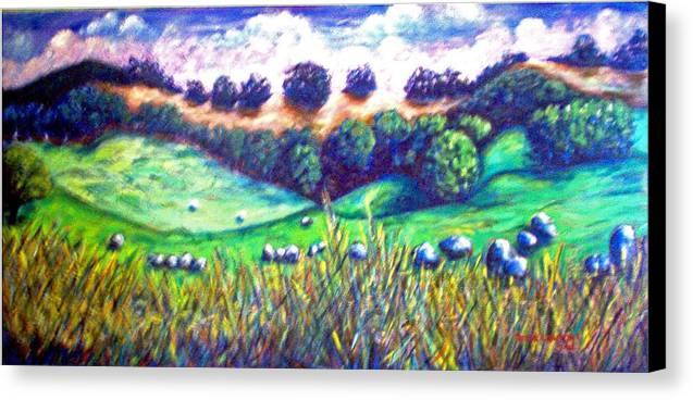 Landscape Canvas Print featuring the painting Santa Rosa Plateau by Steve Lawton