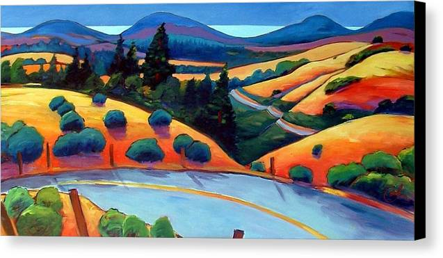 Road Canvas Print featuring the painting Skyline To The Sea by Gary Coleman