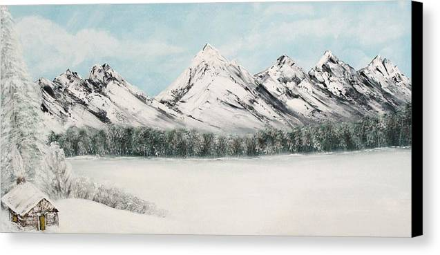 Alaskan Landscape Canvas Print featuring the painting Solitude by Ofelia Uz