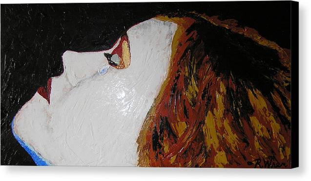 Portrait Canvas Print featuring the painting The Tear by Ricklene Wren
