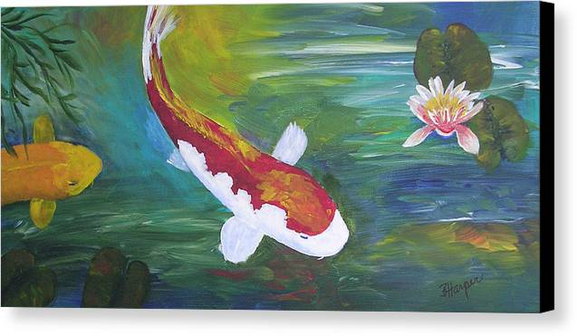 Koi Canvas Print featuring the painting Two Koi And Water Lily by Barbara Harper
