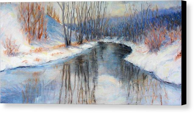 Winter Canvas Print featuring the painting Winter Reflection by Ruth Mabee