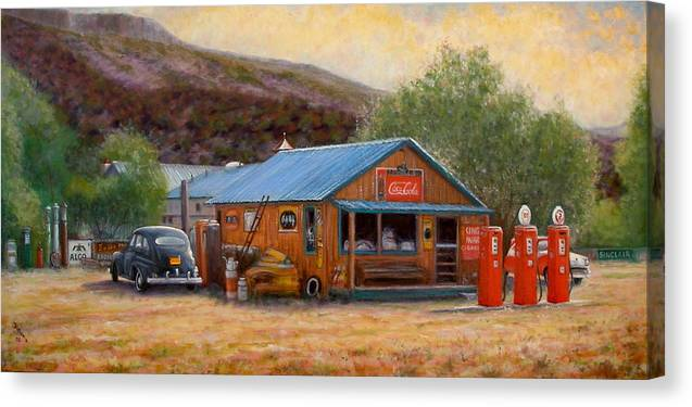 Realism Canvas Print featuring the painting Below Taos 3 by Donelli DiMaria