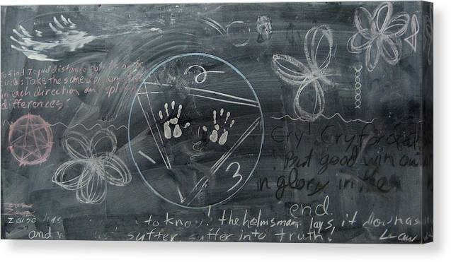 Chalkboard Canvas Print featuring the drawing Blackboard Science And Art II by Stephen Hawks