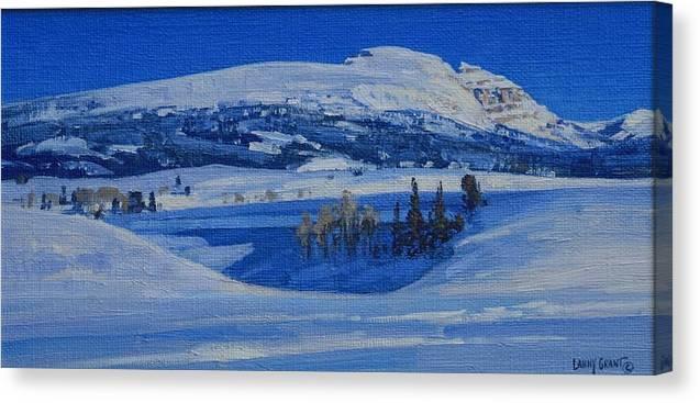 Landscape Canvas Print featuring the painting Clear And Cold by Lanny Grant