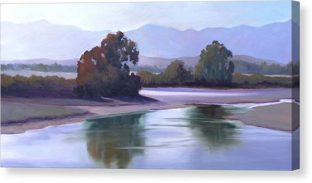 Nocturnal Canvas Print featuring the painting Evening At Devereux Lagoon by Dorothy Nalls