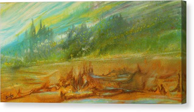 Contemporary Landscape Canvas Print featuring the painting Exotisme by Annie Rioux
