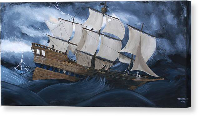 Ship Canvas Print featuring the painting Fury by Tammy Dunn