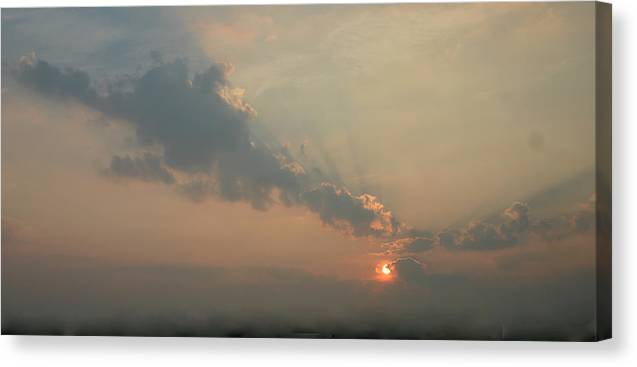 Dawn Canvas Print featuring the photograph Misty Morning Promise by Richard De Wolfe