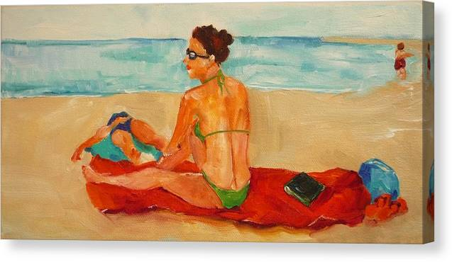 Bikini Canvas Print featuring the painting Sunny In Socal by Irit Bourla